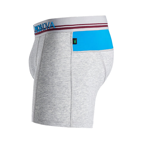 M2 Cotton Light Heather Grey/Blue Boxer Briefs