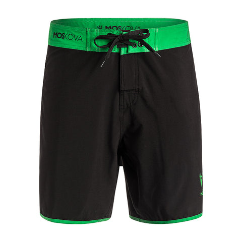 SS20 Moskova Board Shorts - Black/Green