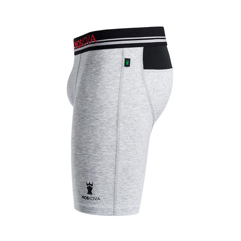 BOXER M2 LONG COTTON - HEATHER GREY STRIPE
