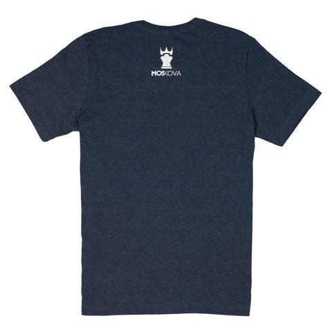 MOSKOVA FONT TEE - HEATHER NAVY