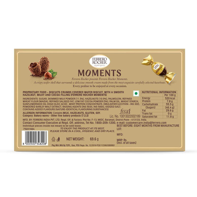 FERRERO ROCHER MOMENTS BOX OF 12 UNITS 69.6 G