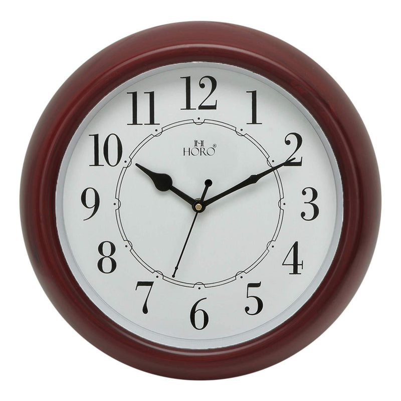 HPB555 STEP MOVEMENT RED BROWN PLASTIC CASE WALL CLOCK