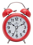 HTC301 NOISELESS RED METAL CASE BACK LED ALARM CLOCK