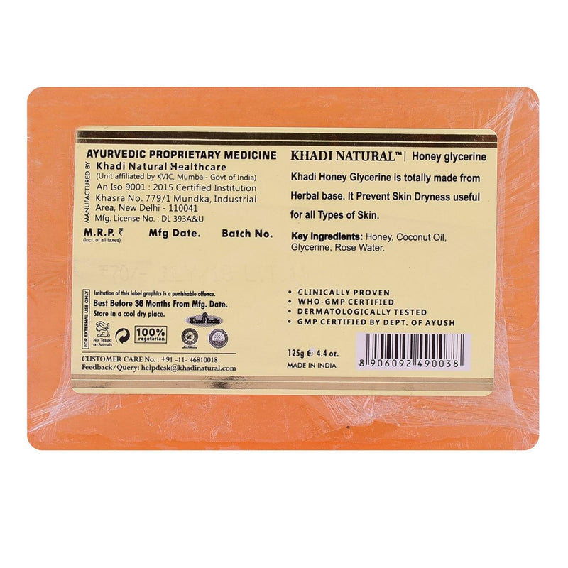 KHADI NATURAL AYURVEDIC HONEY GLYCERINE SOAP