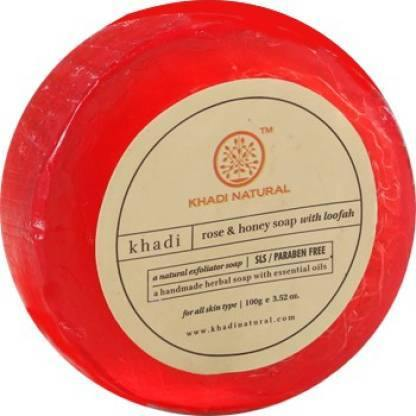 KHADI NATURAL AYURVEDIC ROSE & HONEY SOAP WITH LOOFAH