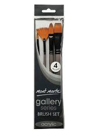 MONT MARTE GALLERY SERIES BRUSH SET TAKLON ACRYLIC 4 BRUSHES PACK BMHS0012