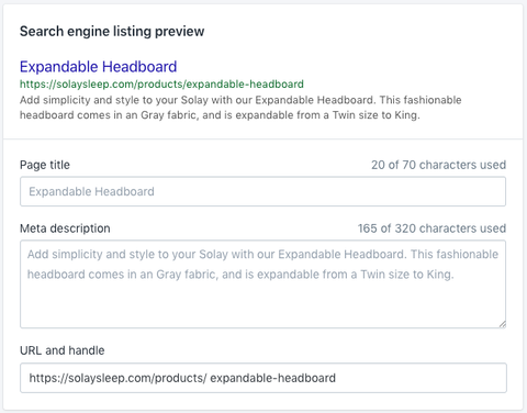 Product handle in the product admin page