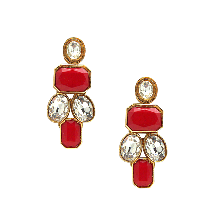 Red Stone & Swarovski Earrings E-52