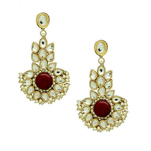 Kundan Red Earrings E-41