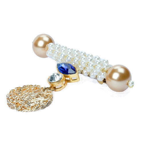 Pearl brooch with blue swarovski BCH-93