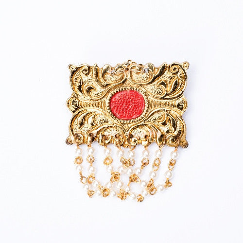 Gold and pearl string brooch BCH-110