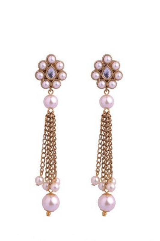 Long pearl chain earrings E-50