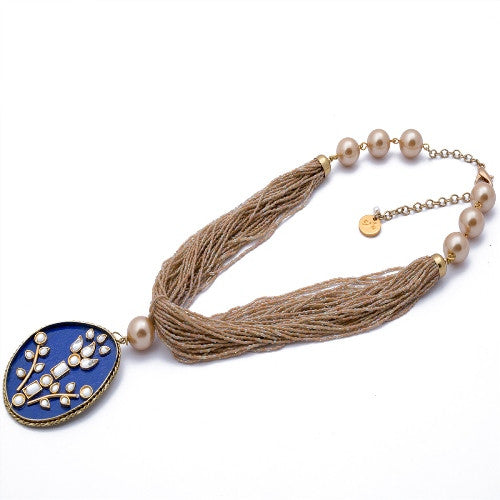 Dark blue with matt gold beads N-1006