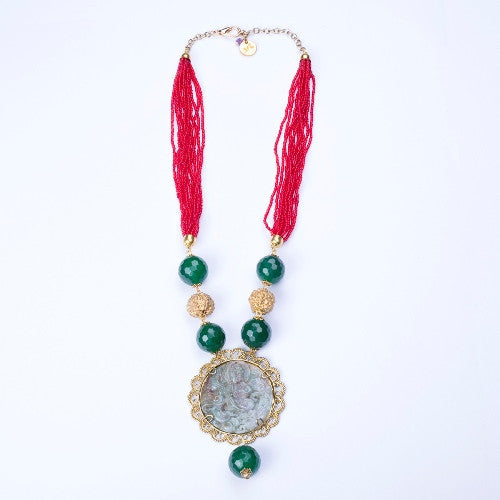 Red beads necklace with a stone pendant N-1010