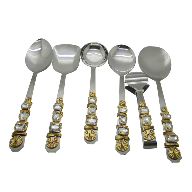 Embellished set of 6 serving spoons PC-06D
