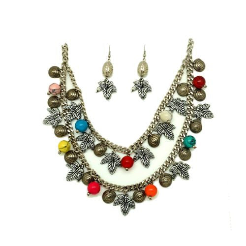 Ethnic matt silver necklace with earrings set KIDN-11