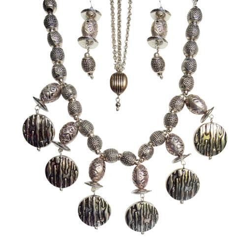 Antique silver necklace, earrings and maang tikka set N-859