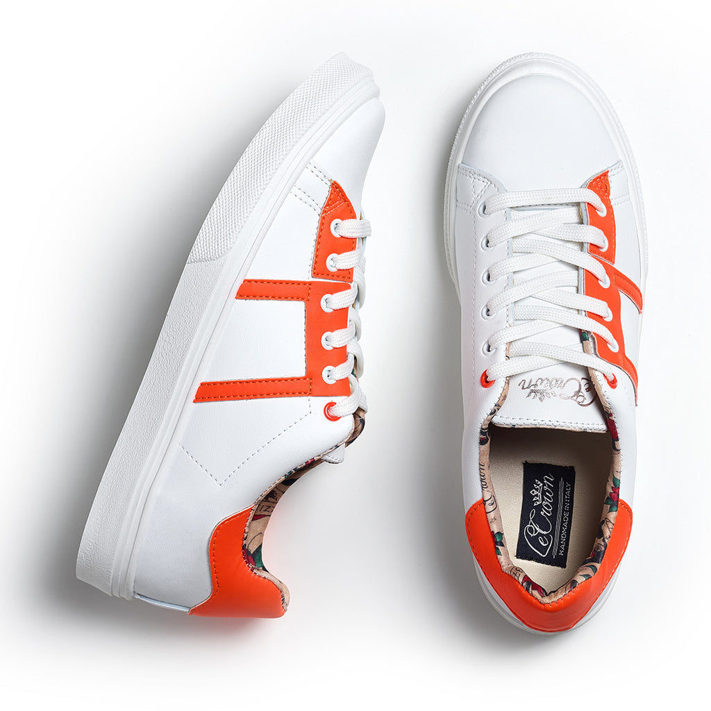 SNEAKER LOW LEATHER NEON WOMAN ORANGE