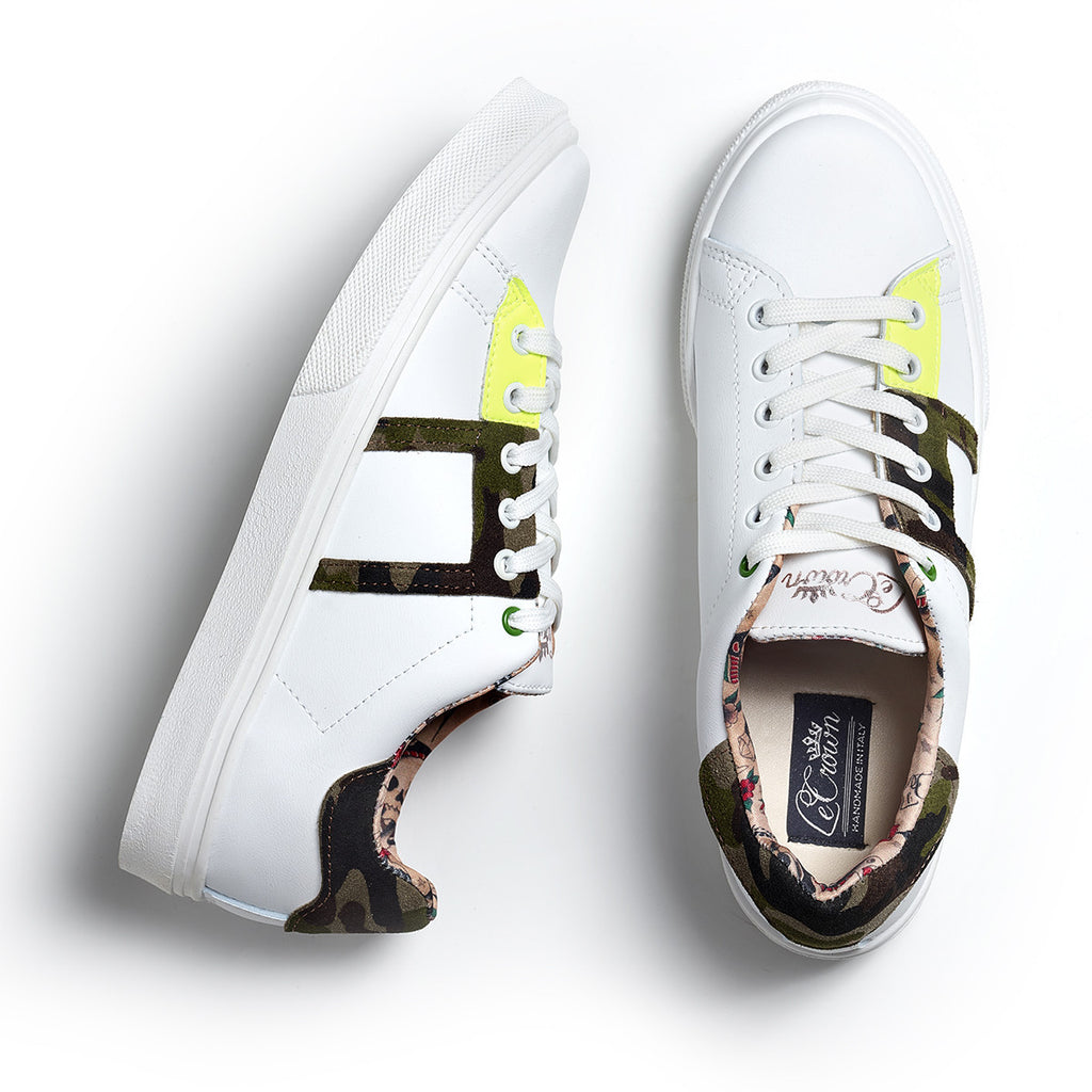 SNEAKER LOW LEATHER NEON WOMAN CAMO