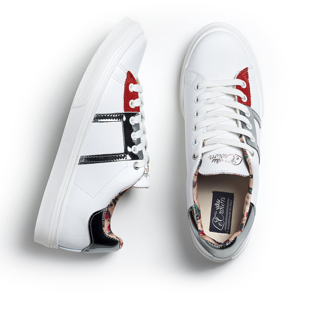 SNEAKER LOW LEATHER LAME MAN SILVER/RED