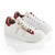 SNEAKER LOW LEATHER GLITTER WOMAN GOLD/RED