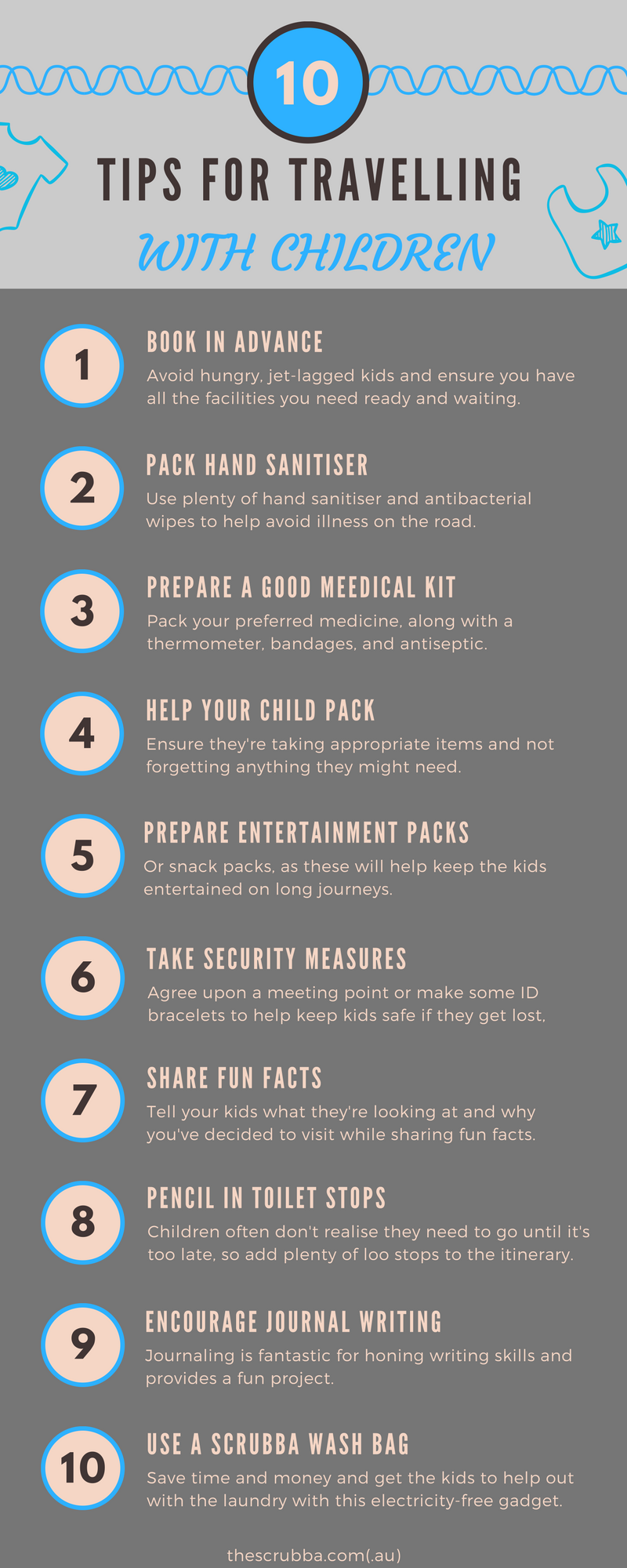 10 Tips for Travelling with Children Infographic