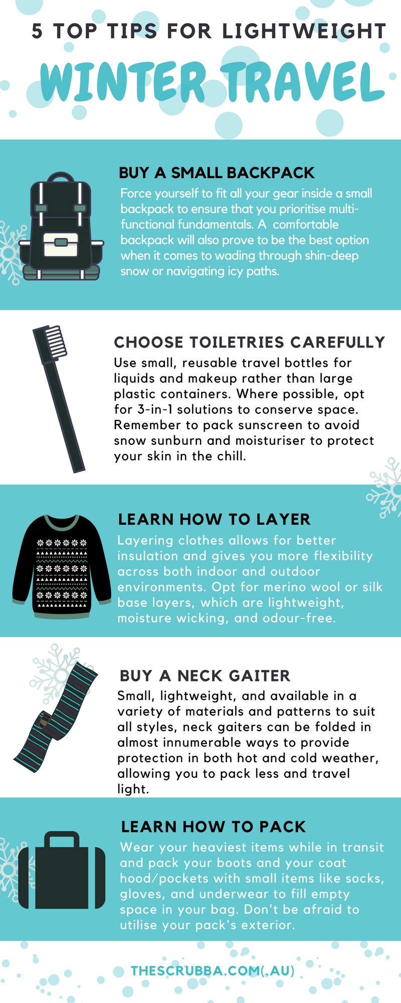 5 Top Tips for Lightweight Winter Travel Infographic