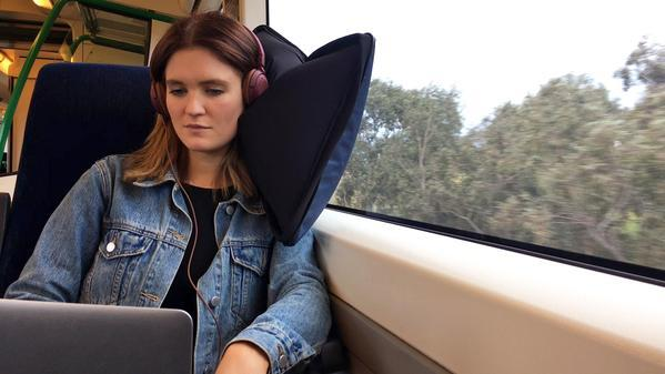 The Scrubba Air Sleeve Large Pillow for Train Commutes