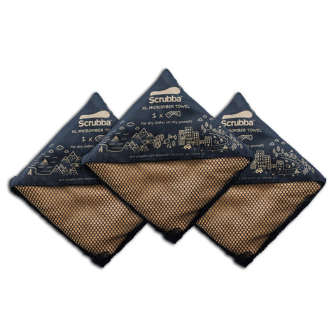 3 pack of Scrubba XL Tactical Travel Towels