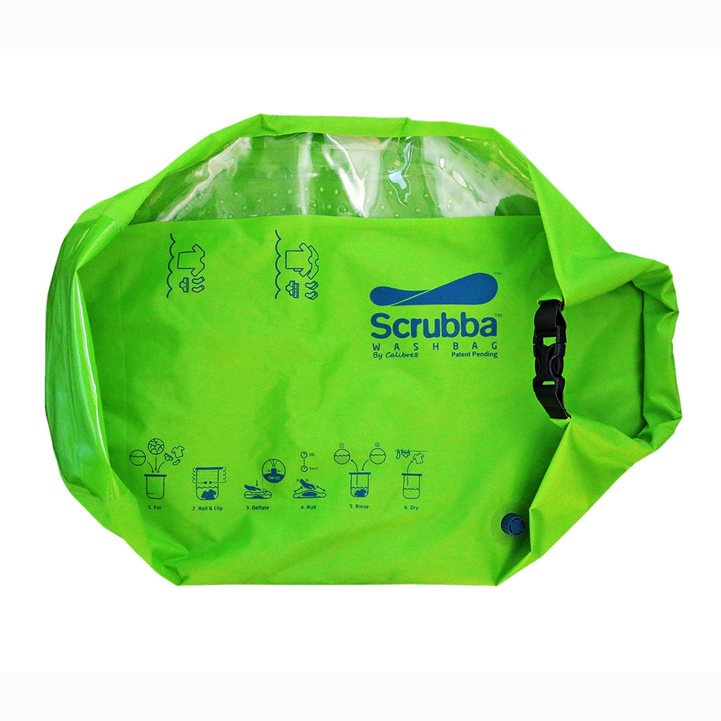 Scrubba Wash Bag - Green - Unpackaged for personal use