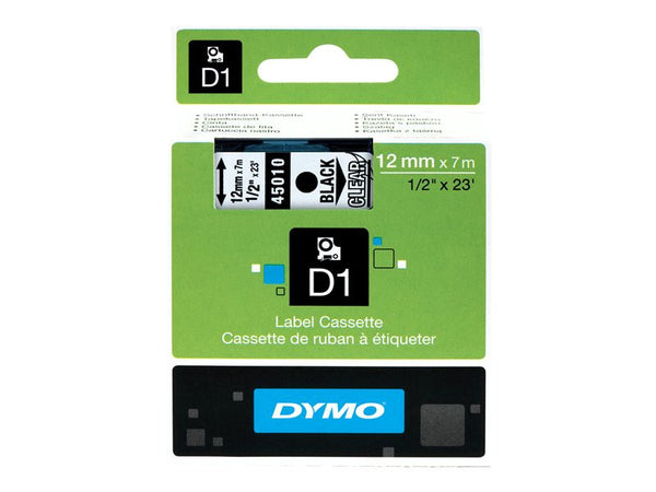Dymo D1 Tape 12mm Black on transparent