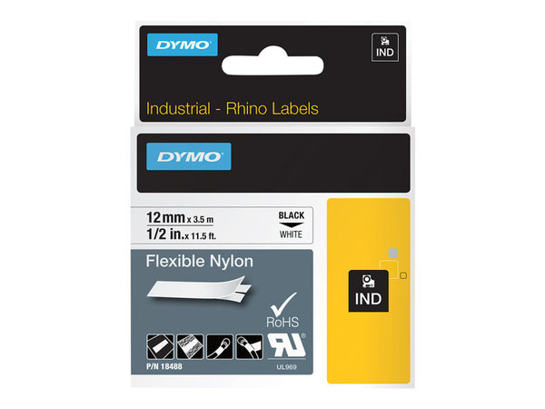 Dymo Ribbon RhinoPro/12mm x 3.5m Black&White