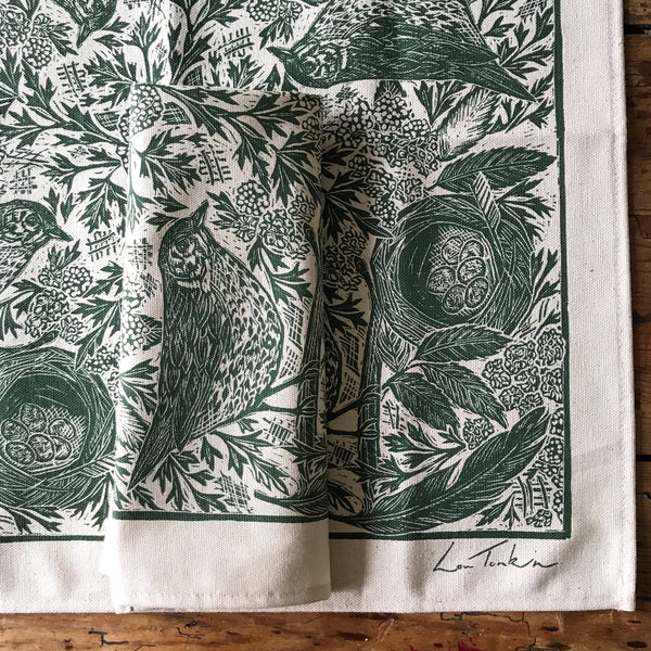 Pre-order Hedgerow Napkin by Lou Tonkin (screenprinted organic cotton)