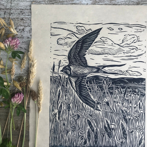 'Moor edge Meadow' lino print by Lou Tonkin