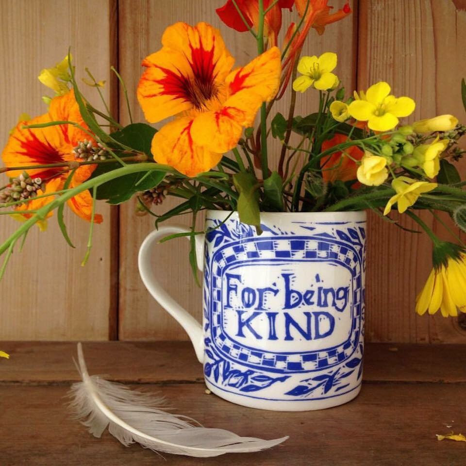 For Being Kind- bone China screen printed mug