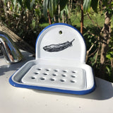 Feather design enamel soap dish