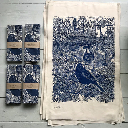 Organic cotton Blackbird Tea towel by Lou Tonkin