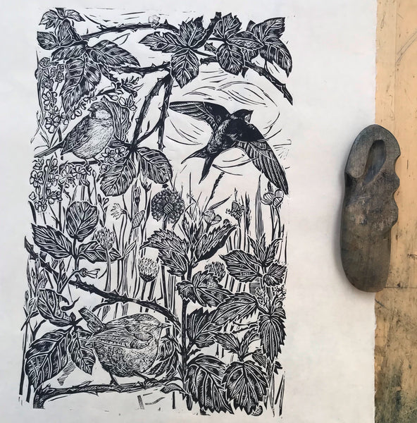 Assembly of Birds, lino cut print by Lou Tonkin