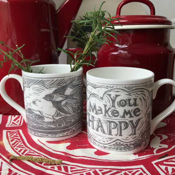 You Make Me Happy, bone China handprinted mug