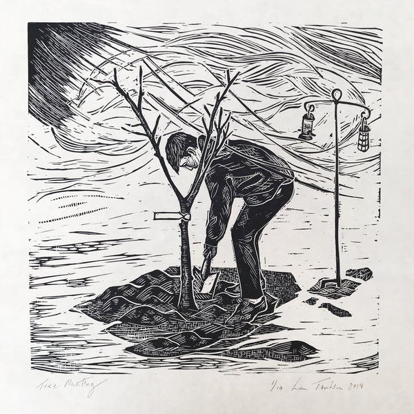Planting trees, original limited edition lino cut print by Lou Tonkin