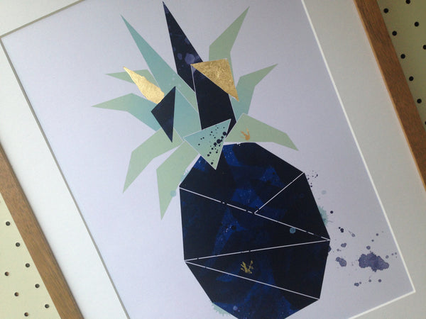 Navy and Gold Leaf Pineapple
