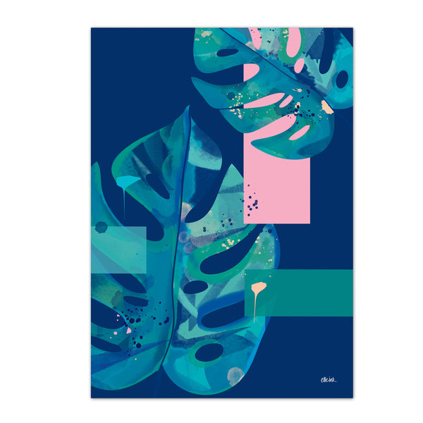 Monstera | Navy & Pink