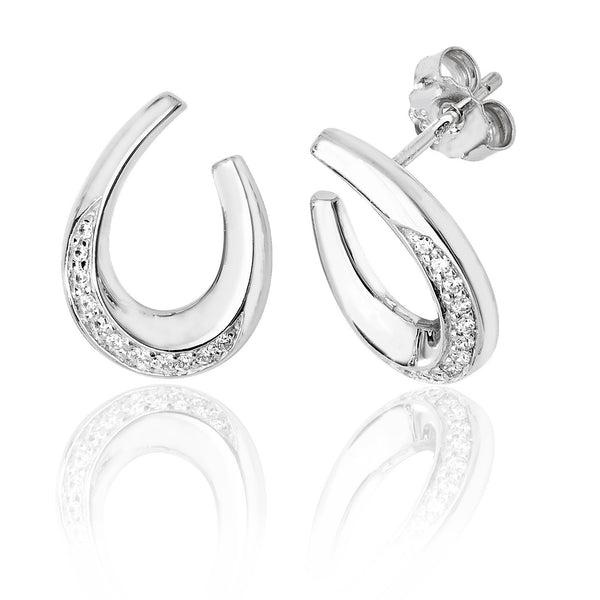 Sophisticated 925 Sterling Silver Ladies Stud Earrings with Cubic Zirconia/CZ Picture 1