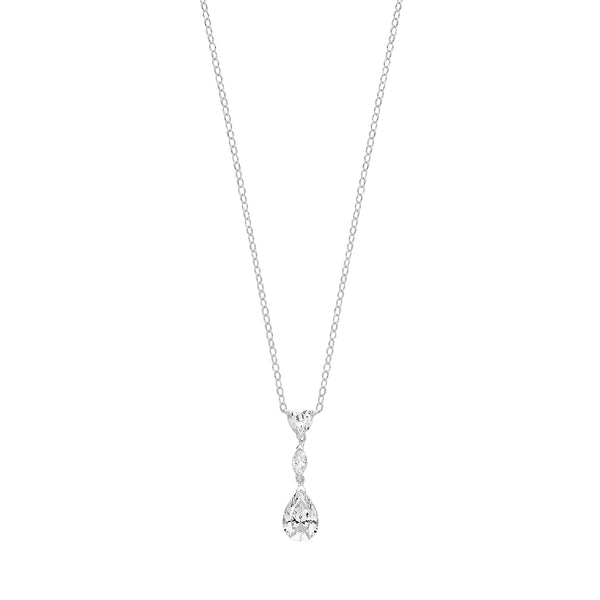 Pretty 925 Sterling Silver Ladies Necklace with Cubic Zirconia/CZ, , - 0.1cm Picture 1