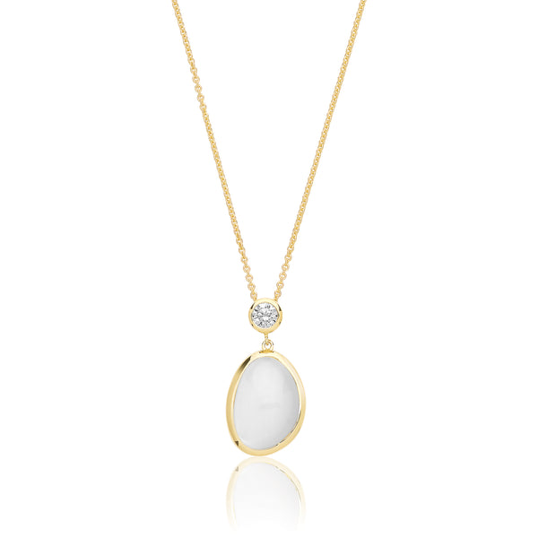 Stunning 925 Sterling Silver Ladies Pendant + Chain with Moonstone, Cubic Zirconia/CZ - 0.1cm Picture 1