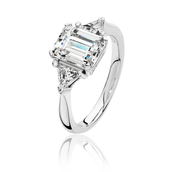 Stylish 925 Sterling Silver Ladies Trilogy Ring with Cubic Zirconia/CZ, Picture 1