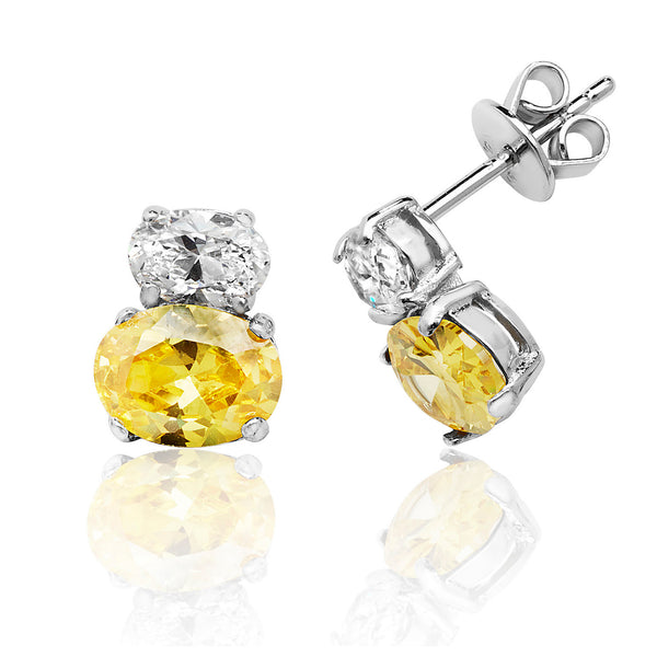 Beautiful 925 Sterling Silver Ladies Stud Earrings with Cubic Zirconia/CZ, Picture 1