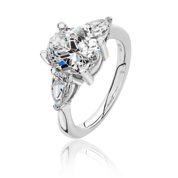 Stunning 925 Sterling Silver Ladies Trilogy Ring with Cubic Zirconia/CZ, Picture 1