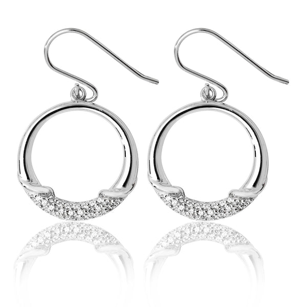 Contemporary 925 Sterling Silver Ladies Drop Earrings with Cubic Zirconia/CZ Picture 1