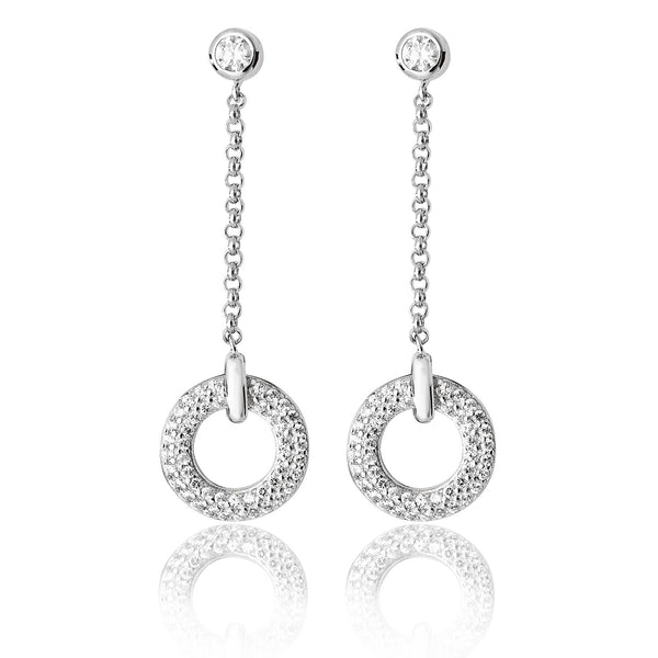 Stunning 925 Sterling Silver Ladies Drop Earrings with Cubic Zirconia/CZ Picture 1